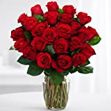 ProFlowers 24 Count Red Two Dozen Red Roses w/Free Clear Vase - Flowers