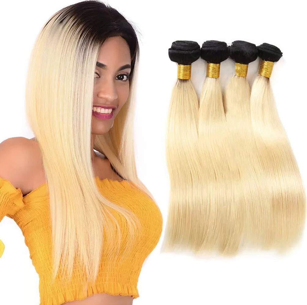 女性ブラジル髪織りストレートヘアバンドルブラジル髪人毛バンドルナチュラルカラーグラデーション(3バンドル)  12inches