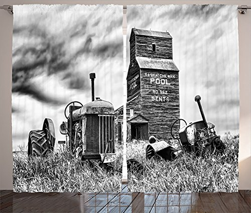 [Industrial Decor Curtains Old 60s Abandoned Tractor in the Farm in Central Canada Nostalgic Machinery Elements Image Living Room Bedroom Decor 2 Panel Set Grey,Size:2 x 54