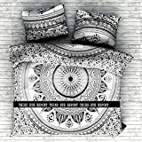 Indian Medallion Duvet Coverlet Tapestry / Hippie Mandala Bohemian Cotton Bedding Comforter Set/ Traditional Print Quilt Blanket Bed Sheet/ Queen Bedspread With Two Pillow Cover (Black Flower Ombre)