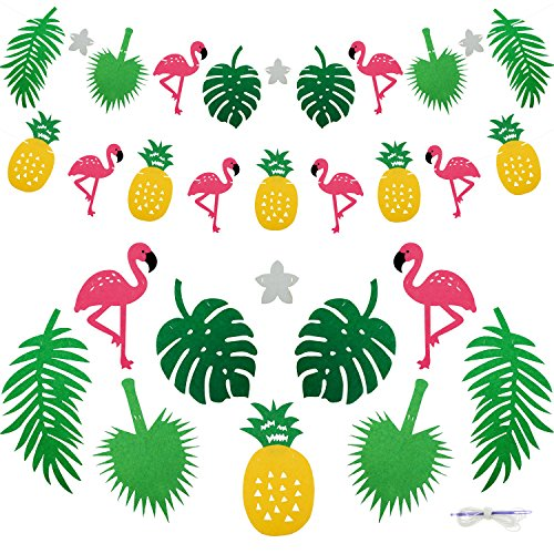 Keklle Flamingo Pineapple Tropical Leaves Banner Garland For Room Decoration Luau Hawaiian Summer Beach Party Supplies, 2 Pack