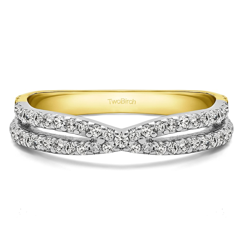 Two Tone Silver Wedding Band Charles Colvard Created Moissanite(0.31Ct)Size 3 To 15 in 1/4 Size Intervals