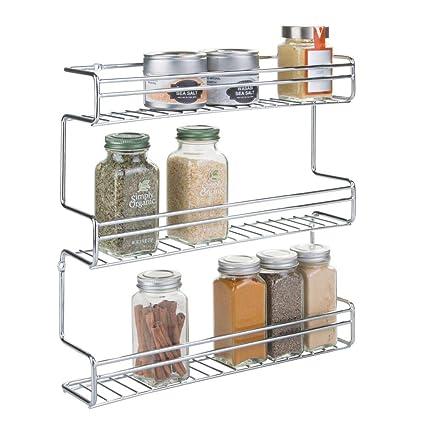 mDesign portaspezie da cucina da montare alla parete o ai mobili della  cucina – comodo supporto per le spezie con 3 ripiani – mensola portaspezie  ...