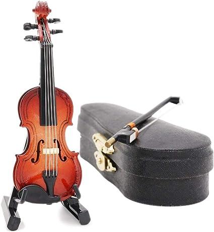 Odoria 1//12 Miniatur Cello mit Bogen Ständer und Koffer Für Musikinstrument Puppenhaus Dekoration Zubehör Cardinas