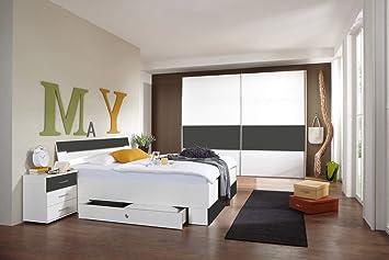 lifestyle4living Schlafzimmer Komplett Set in weiß und grau ...
