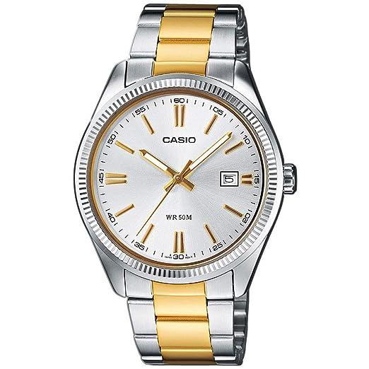 Casio Reloj Analógico para Mujer de Cuarzo con Correa en Acero Inoxidable LTP-1302PSG-7AVEF: Amazon.es: Relojes