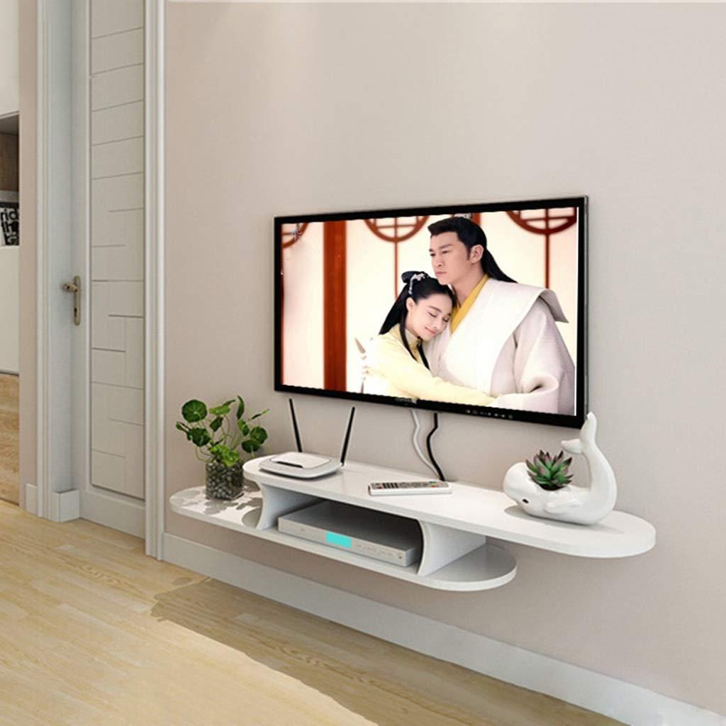 壁掛けテレビキャビネットフローティング棚ウォールシェルフセットトップボックスルーターDVDプレーヤー衛星放送収納棚多機能ディスプレイ棚 (色 : 白, サイズ さいず : 120cm) B07P54HKS7 白 120cm
