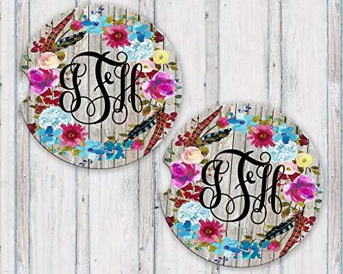Personalized Monogram Sandstone Car Coasters Boho Floral Wreath Grey Barn Wood Background Set of (Reclaimed License Plate)