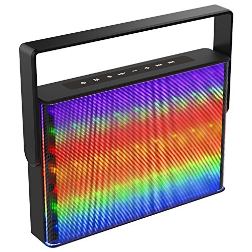 Aduro LED Bluetooth Speaker with Pulsating Lights, Square Wireless Color Changing Portable Outdoor Party Speaker Universal