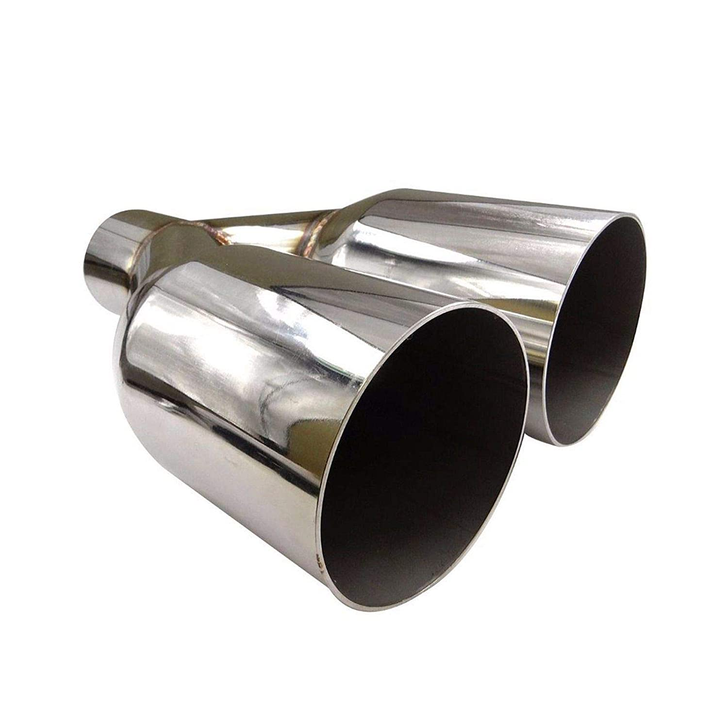 BLACKHORSE-RACING Universal Dual Exhaust Tip Straight Cut 2.5 Inlet 3.5 Inch Outlet 10.5 Length Polished Stainless Steel Silver Single Layer Staggered Tailpipe