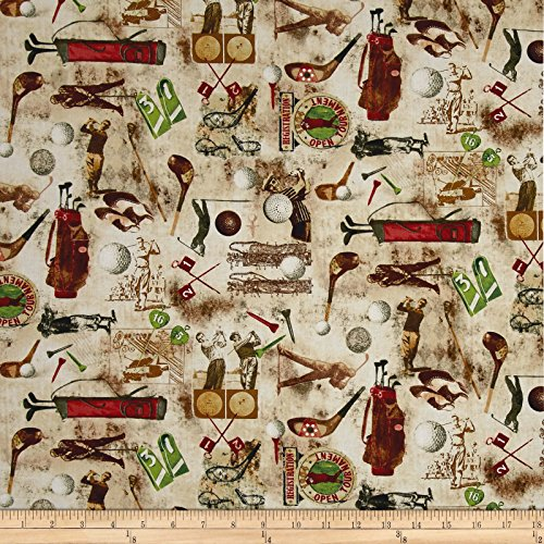 Cotton Fabric Timeless Treasures - Timeless Treasures Vintage Sports Golf Coffee Fabric by The Yard