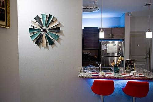 Zeckos Rustic Coastal Color Metal Windmill Decor Large Wall Clock