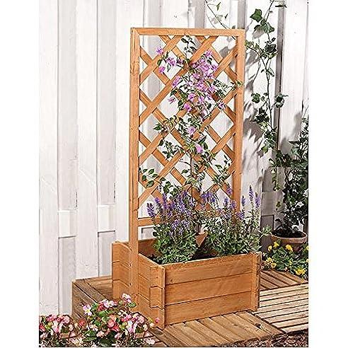 Spalier Rankhilfe Rankgitter mit Blumenkasten in Holz: Amazon.de ...