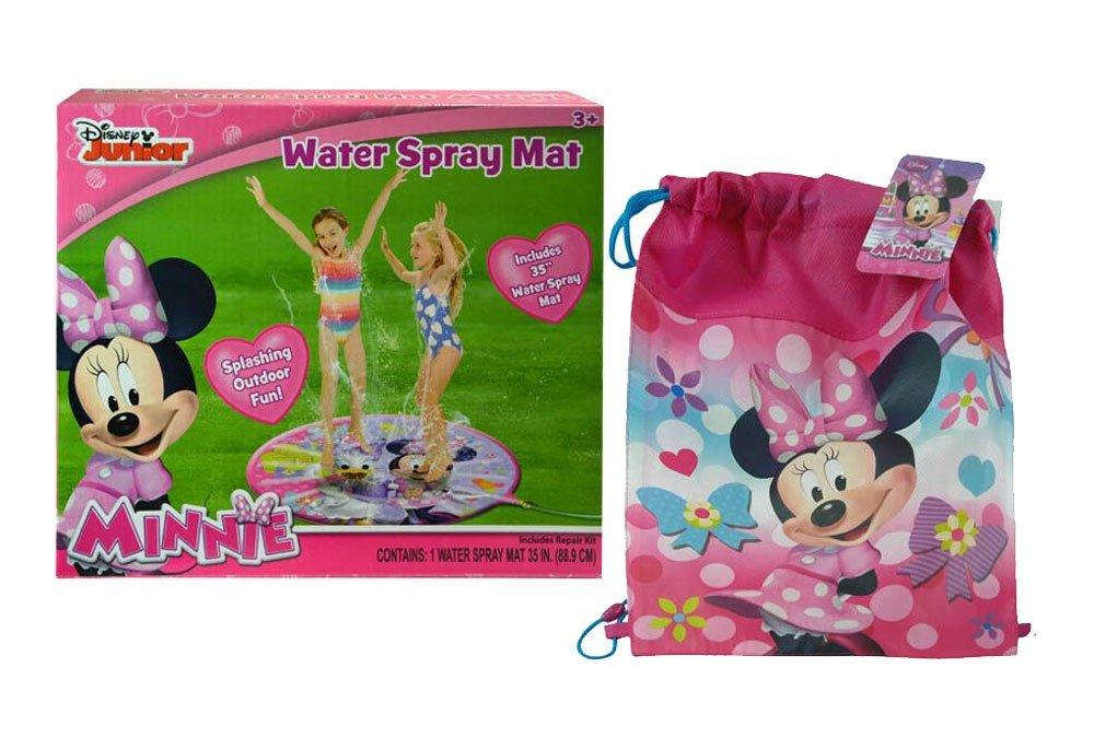 Disney Jr. Minnie Mouse Water Play 35'' Spray Mat! Splashing Outdoor Fun! Featuring Minnie & Daisy Duck! Plus Bonus Minnie Outdoor Pool/Beach Bag!