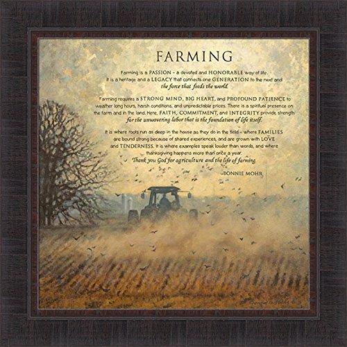Farming by Bonnie Mohr 22x22 Tractor Field Poem Sign Agriculture Farm Farmer Crops Inspirational Framed Art Print -
