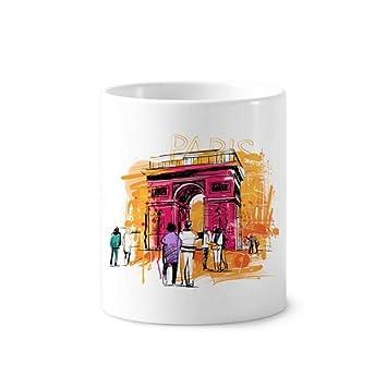 DIYthinker Dibujo Arco del Triunfo París Francia de la mano de cerámica taza de cepillo de