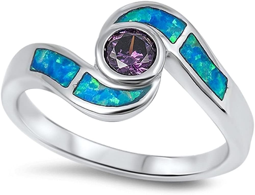 CloseoutWarehouse Staccato Simulated Amethyst Cubic Zirconia Blue Simulated Opal 925 Sterling Silver Size 10