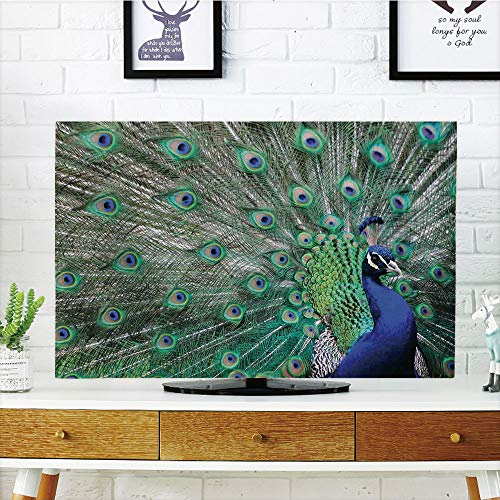 iPrint LCD TV dust Cover Strong Durability,Peacock,Peacock Displaying Elongated Majestic Feathers Open Wings Picture,Navy Blue Green Light Brown,Picture Print Design Compatible 70