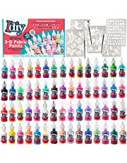 IDIY Fabric Paints, Set of 60 Colors, (1oz bottles) Bright 3D Fabric Paint - Includes Glitter, Metallic, Glow, Neon, 5 Stencils, 3 Brushes, Non-Toxic Water-Based and Permanent - Craft, Gift, Project