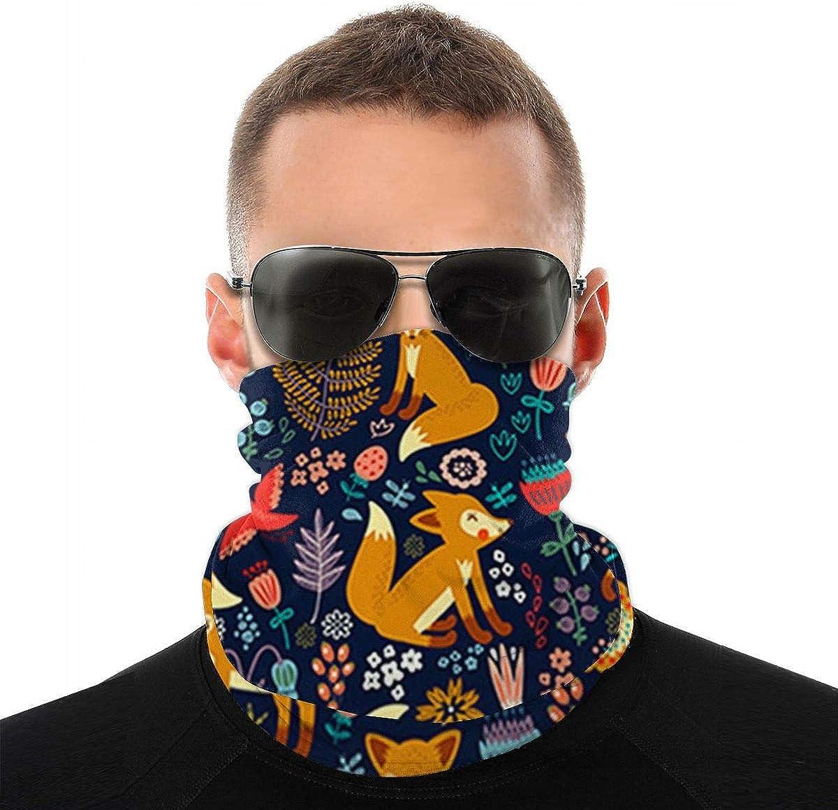Fox Pattern Neck Gaiter Face Mask Sports Bandana Balaclava Headwear Scarf Headband for Women and Men