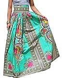 XQS Women's Dashiki Africa Print High Waist Pleated A-line Maxi Long Skirt 1 M