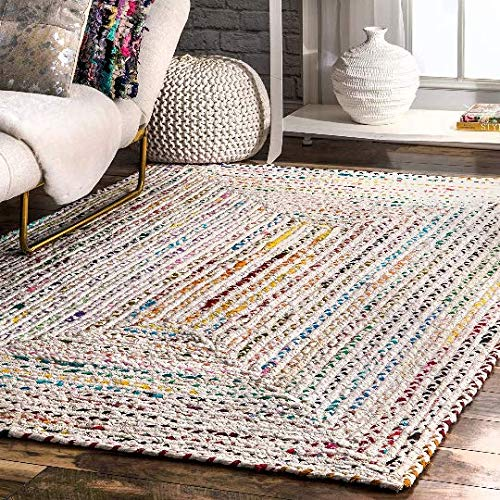 Hand Braided Bohemian Colorful Cotton Area Rug (2' x 3') (Cotton Rugs Area Dhurrie)