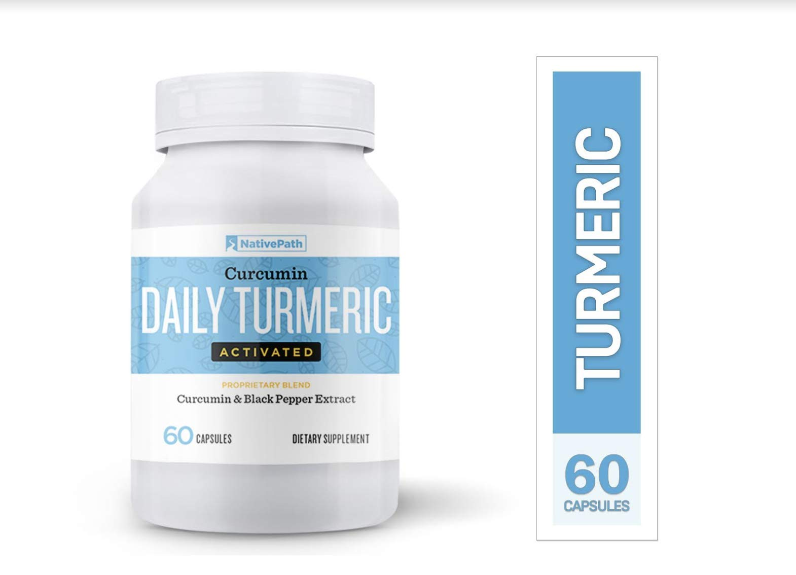 NativePath Daily Turmeric Activated Curcumin & Black Pepper Extract, Anti-Inflammatory Capsules, Provides Joint Relief and Supports Your Immune System, Mood, Memory (3)
