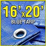 Grizzly Tarps 16-Feet X 20-Feet Blue Multi-Purpose 6-mil Waterproof Poly Tarp Shade Cover 16x20 Tarpaulin