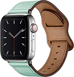 KYISGOS Compatible with iWatch Band 44mm 42mm 40mm 38mm, Genuine Leather Replacement Band Strap Compatible with Apple Watch SE Series 6 5 4 3 2 1 (Mint/Silver, 44mm/42mm)