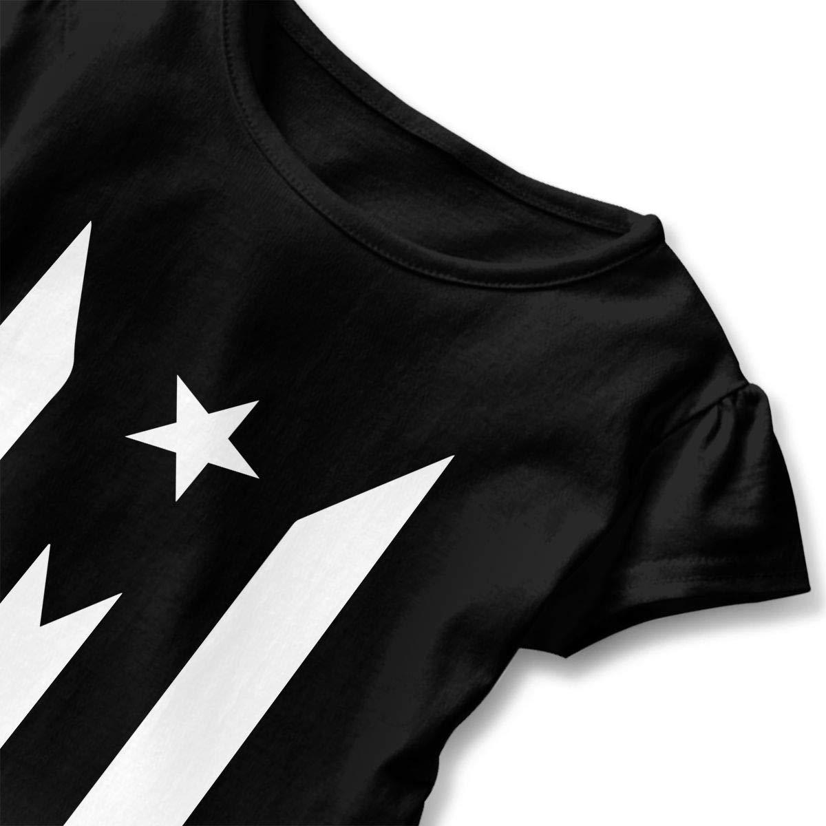 2-6 Years Puerto Rico Black Flag Baby Girls Short Sleeve Ruffle Tee Cotton Kids T Shirts