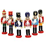 6 PCS Per Set Christmas Decorations Nutcrackers Wooden Soldier Puppet Anvor 12cm Wood Decorative Ornament Home Decor Gift