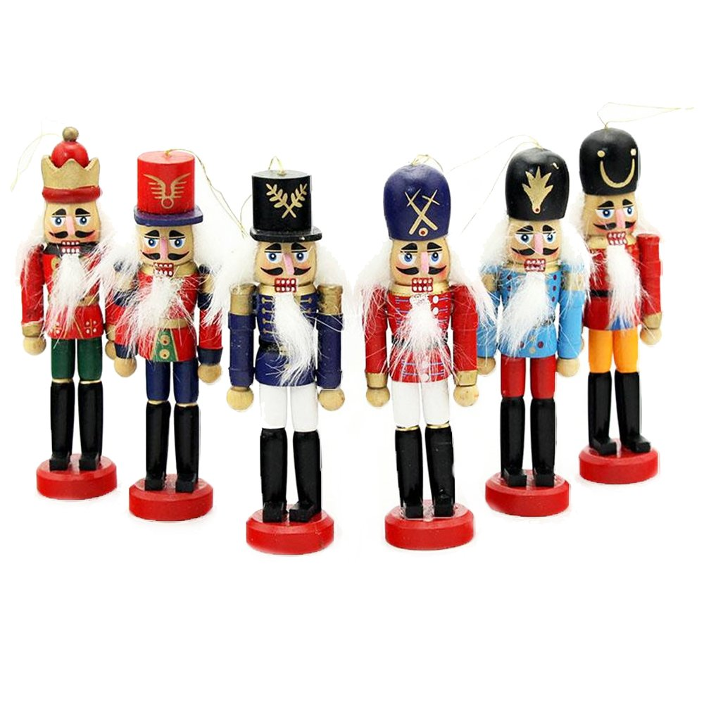 6 PCS Per Set Christmas Decorations Nutcrackers Wooden Soldier Puppet Anvor® 12cm Wood Novelty Decorative Ornament Home Decor Gifts Presant Tree Pendant