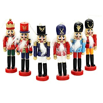6 pcs per set christmas decorations nutcrackers wooden soldier puppet anvor 12cm wood decorative ornament home - Christmas Decorations Wooden Soldiers