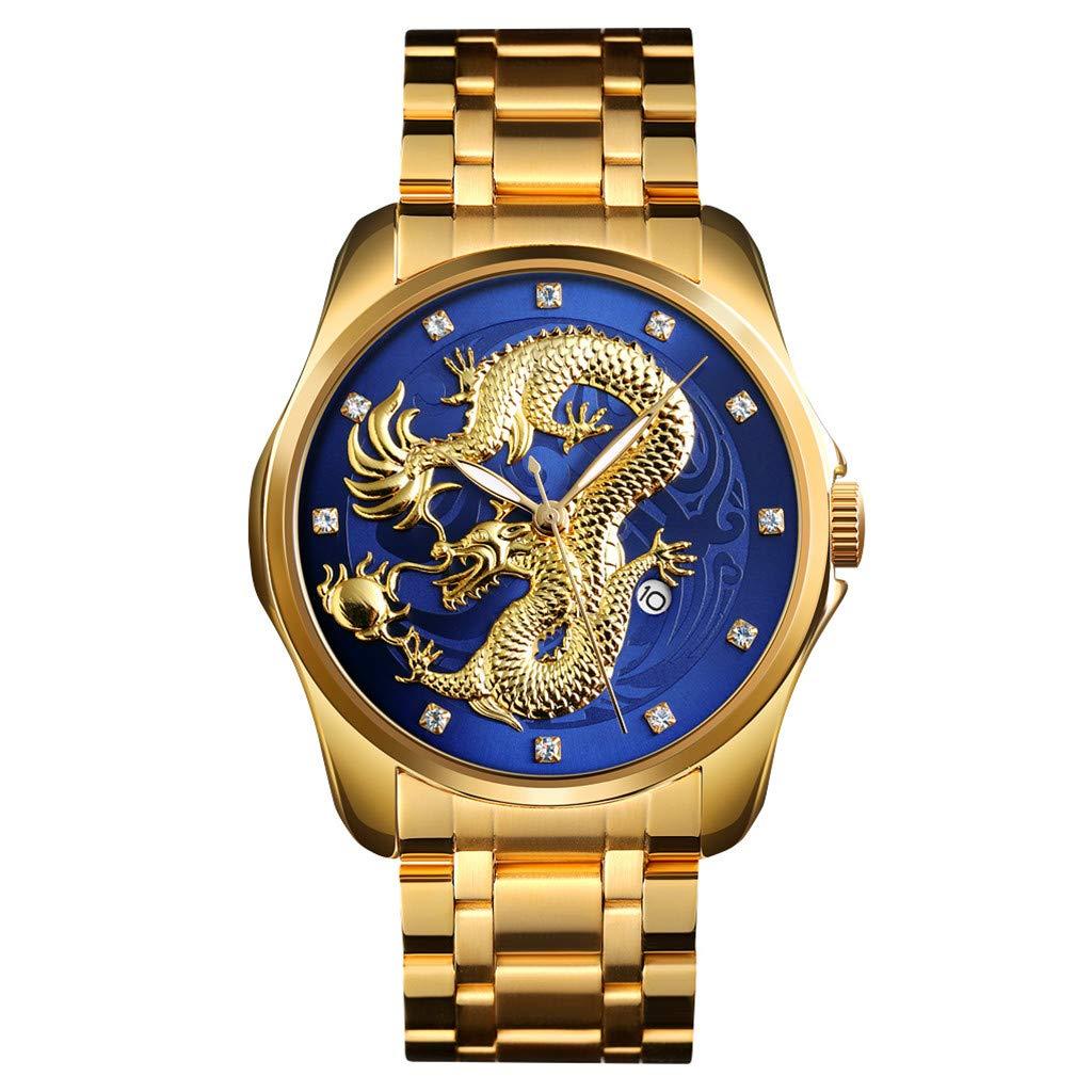 Wrist Watch for Men Waterproof Leather Golden Dragon Diamond Calendar Waterproof Steel Belt Quartz Watch by Letdown Watch