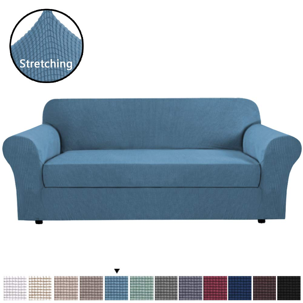 H.VERSAILTEX Stretch Slipcovers, Sofa Covers, Furniture Protector with Elastic Bottom, 2 Piece Couch Shield, Polyester Spandex Jacquard Fabric Small Checks Slip Resistant (Sofa, Dusty Blue)