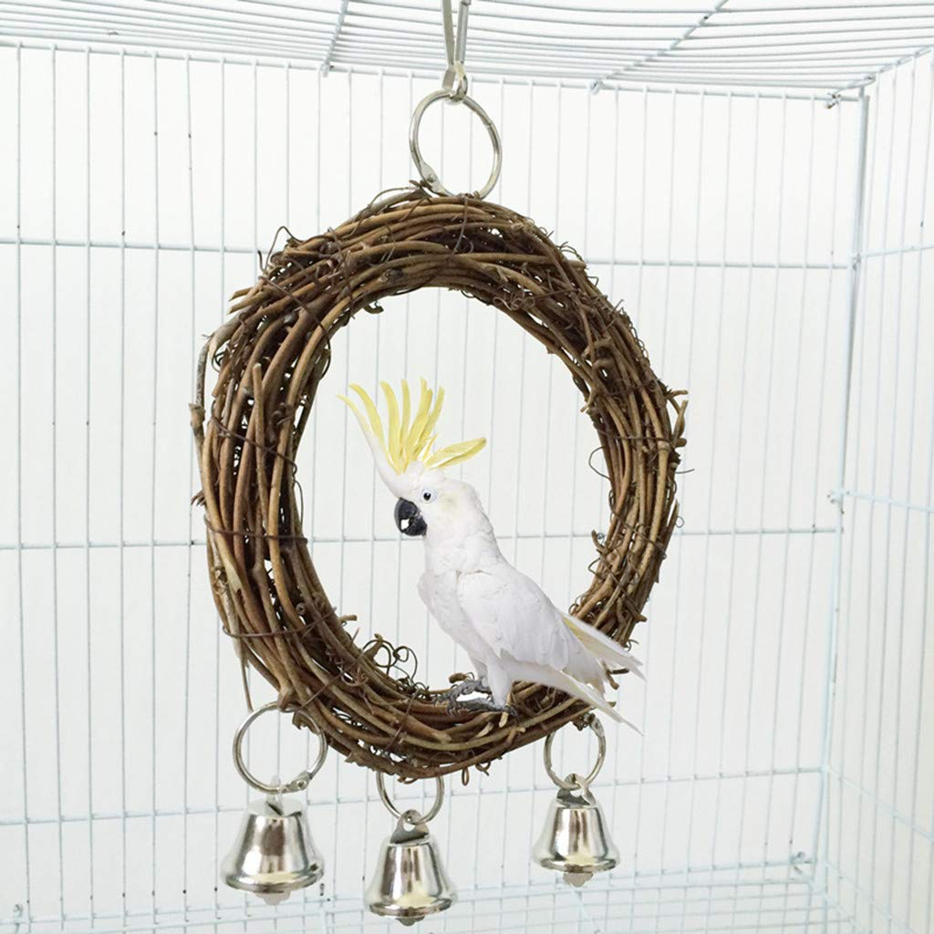 ♛Euone Bird Swing ♛Clearance♛, Natural Rattan Nest Bird Swing Toy with Bells for Parrot Parakeet