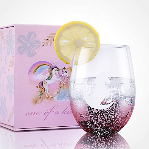 Unicorn Gifts for Girls Women, Boss Lady Gifts, Stemless Wine Glass, Wine Cup for Red or White Wine with a Perfect Gift box, Best Gift for Birthday, Housewarming, Wedding, Engagement - Pink