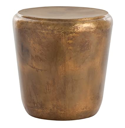Amazoncom Kathy Kuo Home Santiago Modern Burnished Brass Drum Side - Copper drum end table