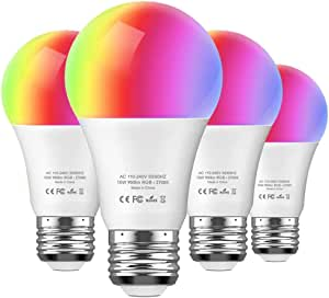 Aoycocr Smart LED RGB Light Bulb (4 Pack) (220V)- 10W A21 E26 Soft White (2700K) Multicolor - 900 Lumens (85W Equivalent) - Compatible with Amazon Alexa and Google Assistant, No Hub Required