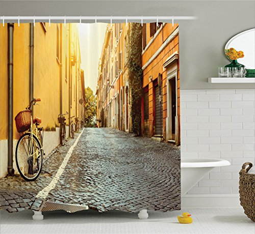 Ambesonne Wanderlust Decor Collection, Street In Rome Italy Bicycle Travel Honeymoon Destinations Sun Lights and Sunny Day Print, Polyester Fabric Bathroom Shower Curtain Set with Hooks, Yellow Rome Travel Bicycle