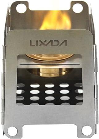 Lixada Estufa de Leña Portable Ligero Plegable Hornillo de Alcohol para Camping al Aire Libre Cocina Picnic (Acero Inoxidable, Altura: 16.2cm, con ...
