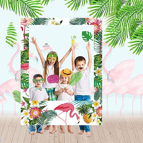 Hawaiian Photo Booth Prop Frame Luau Party Supplies - Hawaiian Tropical Tiki Party Photo Booth Frame Decorations Bridal Wedding Baby Shower ()