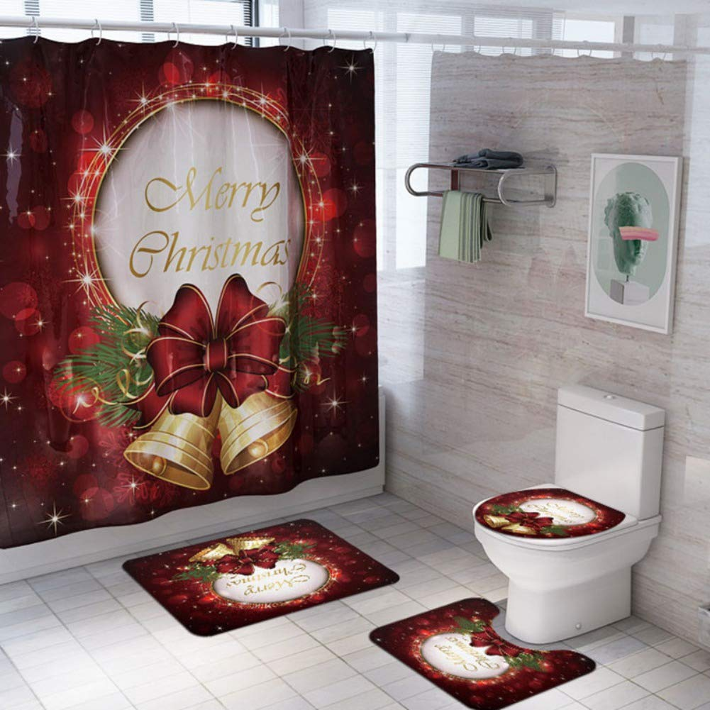 Toilet Lid Cover Non-Slip Rugs Qlan 4 Pcs Christmas Bathroom Sets Bath Mat and Shower Curtain for Christmas Decoration