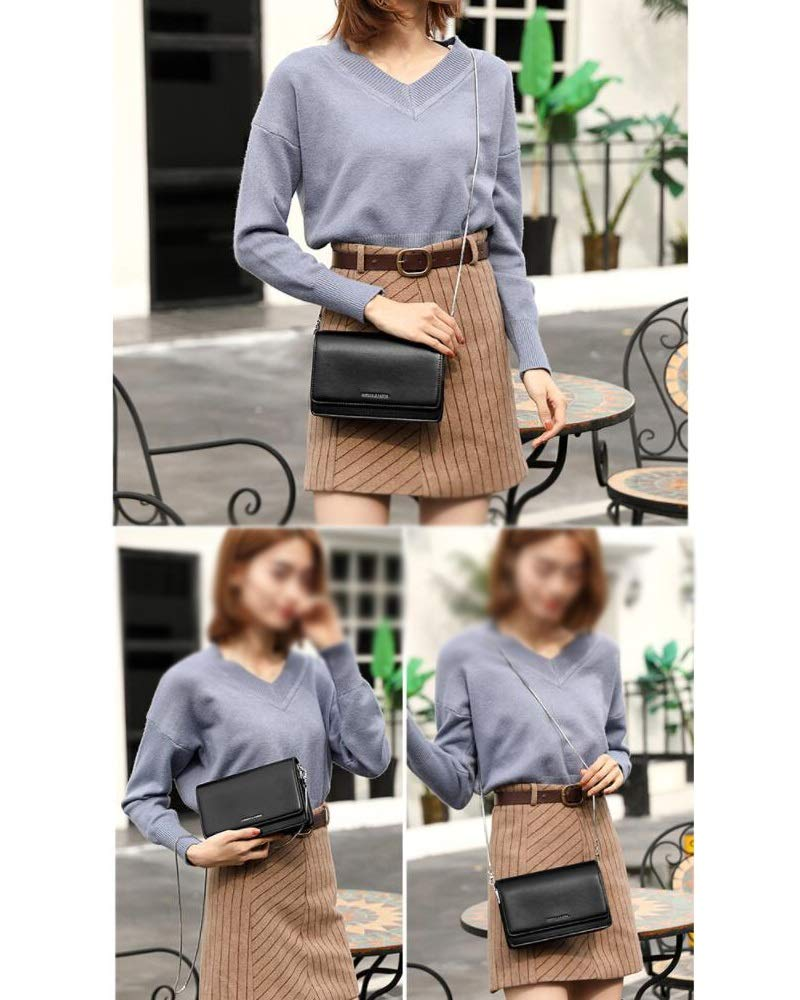Color : Black, Size : L Jian E Womens Leather Small Bag Simple Fashion Mini Trend Wild Messenger Bag Red//Black//Brown