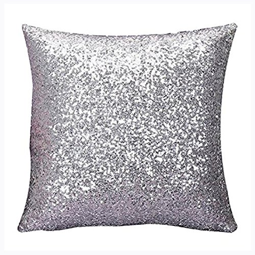 (Aremazing Solid Color Glitter Sequins Home Office Decorative Pillowcase Throw Pillow Cushion Cover 16 x 16 Inches (Silver))