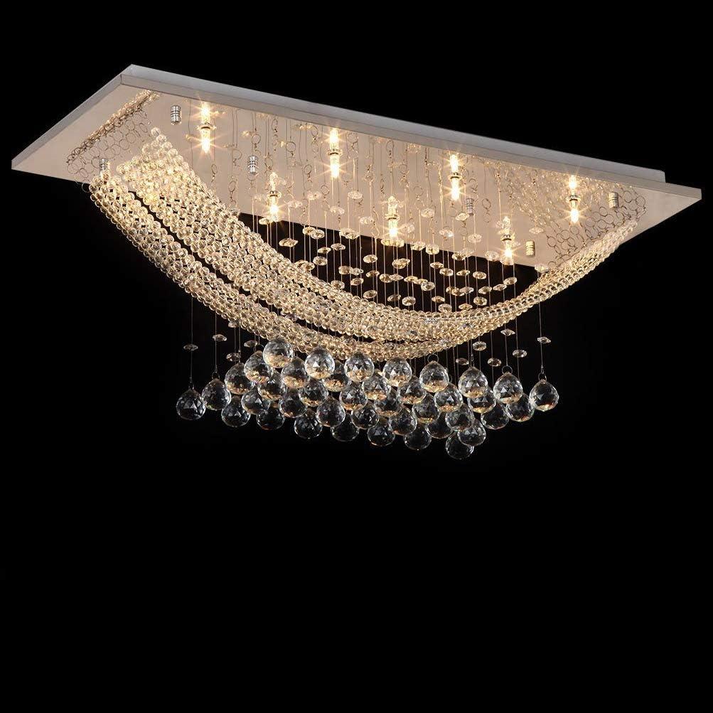 Dst Modern Crystal Chandelier Lighting, Luxury Rectangle Raindrop Elegant Ceiling Lights Fixture Flush Mount Chrome Pendant Light for Dining Living