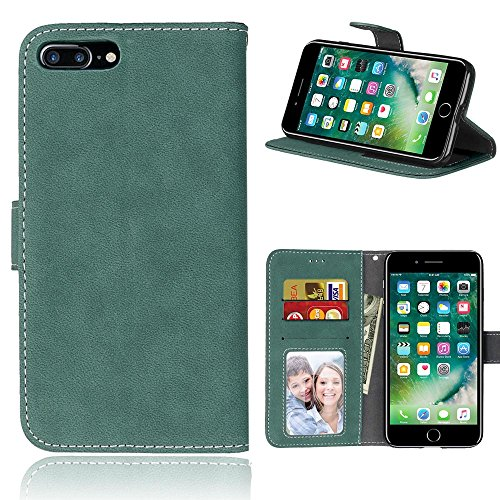 iPhone Case Cover Solid Color Premium PU-Leder Tasche Cover matt-Retro-Flip-Stand Hülle Geldbörse mit Karte Schlitze Foto Frames für Apple IPhone 7 IPhone7 Plus 7 + ( Color : 4 , Size : Apple IPhone 7