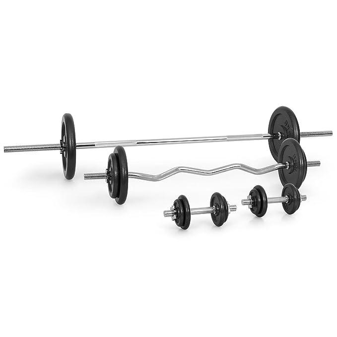 CAPITAL SPORTS IPB Pareja de discos para mancuerna gimnasio (película protectora negra, terminación hierro fundido, entrenar fuerza, pesas, barras ...
