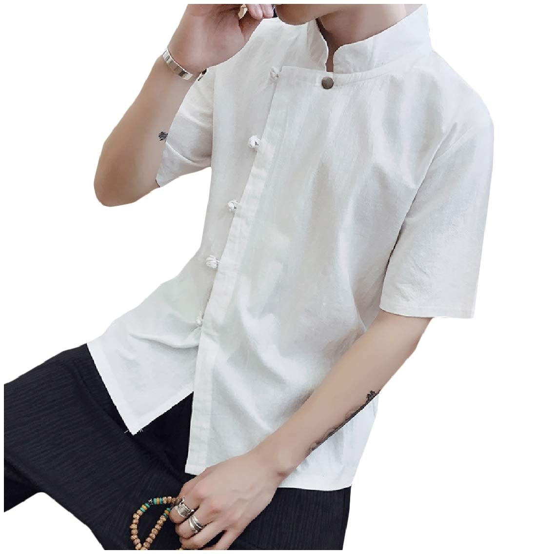 Coolred-Men Vintage Chinese Style Short Sleeves Stand Collar Oversized Tops Shirt