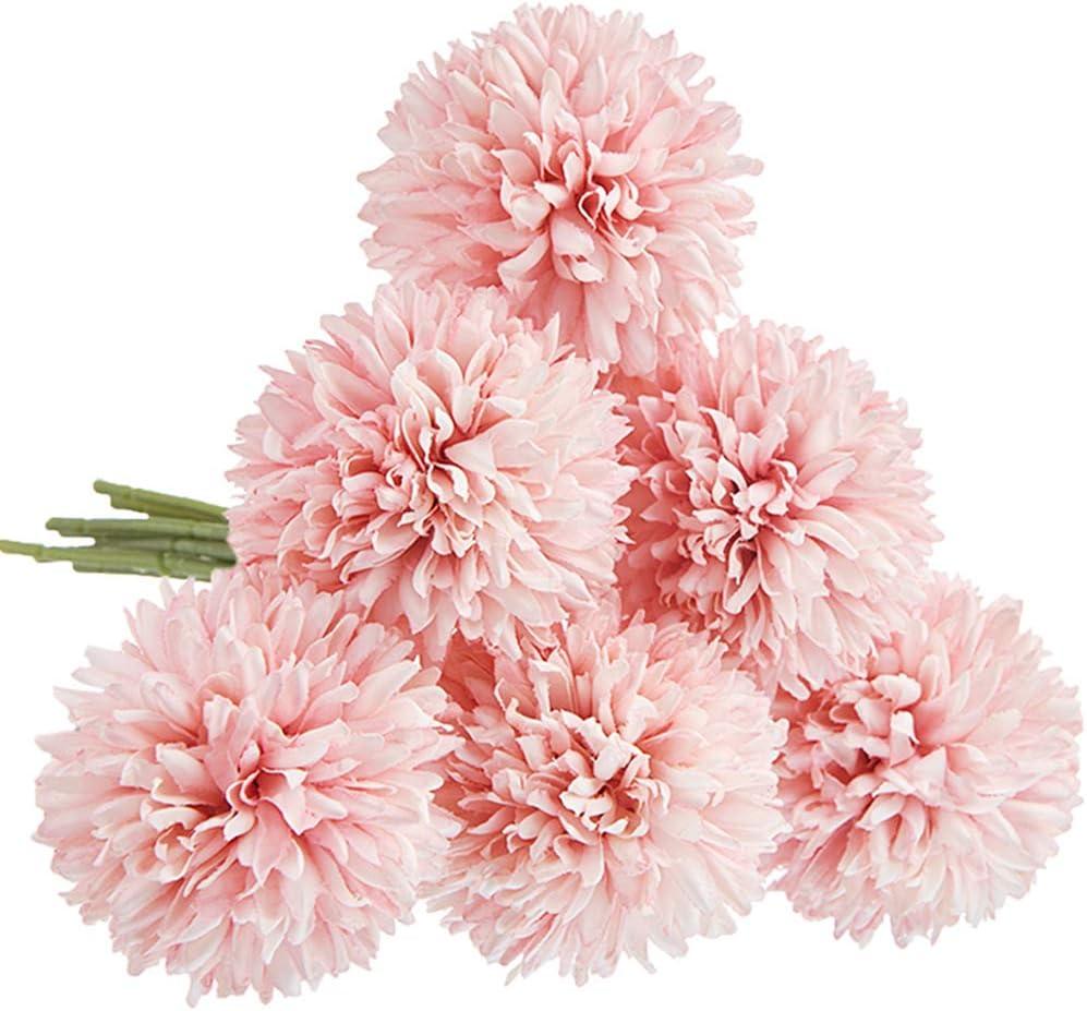 CQURE Artificial Flowers, Fake Flowers Silk Artificial Hydrangea 6 Heads Bridal Wedding Bouquet for Home Garden Party Wedding Decoration 6Pcs (Light Pink)…